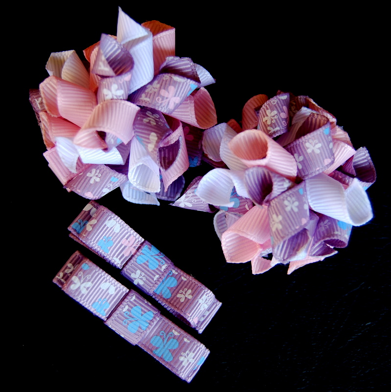 Mauve butterflies Teeny Tiny korker and bow SET-