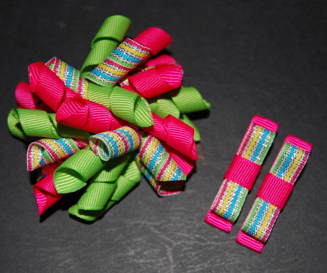 Shocking pink, lime and shimmering stripes Princess Korker SET-