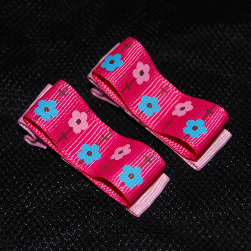 Dark Pink Daisy Chunky Clips
